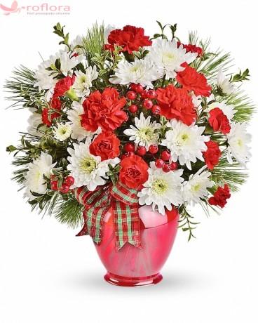 Pe Meleagul Fericirii - Buchet din garoafe si crizanteme