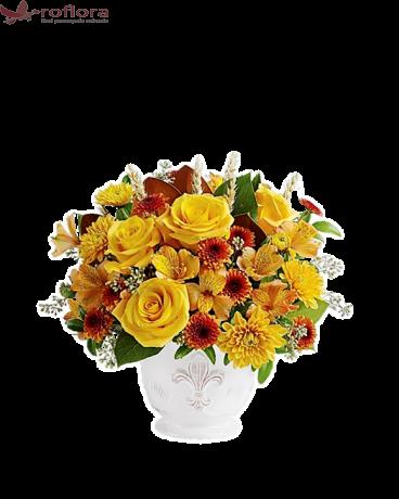 Promisiunile Toamnei – Buchet cu trandafiri, alstroemeria si crizanteme
