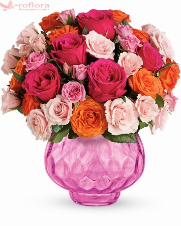 Pure Joy Deluxe – Buchet cu trandafiri roz si portocalii