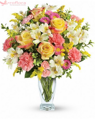 Buchet din trandafiri, garoafe, crizanteme