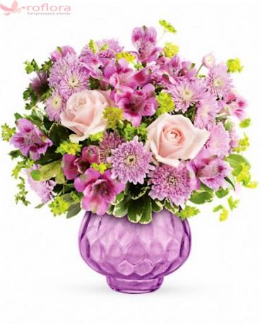 Buchet cu trandafiri, alstroemeria si crizanteme