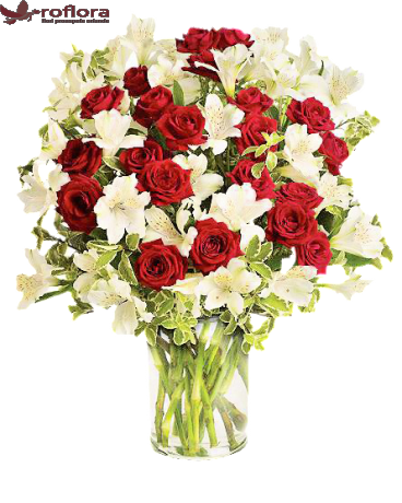 Red and White Surprise Deluxe - Buchet minirosa rosie si alstroemeria