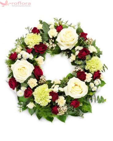 Respectful – Coroana funerara cu trandafiri, garoafe si minirosa