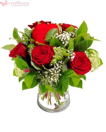 Romance – Buchet din 5 trandafiri