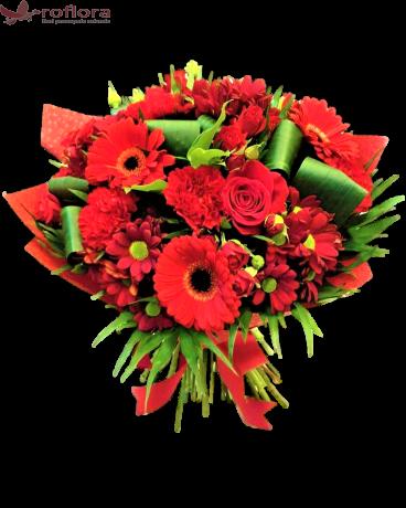 Romanta fara sfarsit - Buchet trandafiri, gerbera