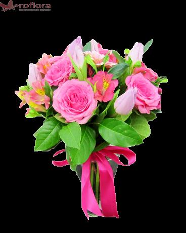 Buchet din lalele, trandafiri, alstroemeria, gerbera