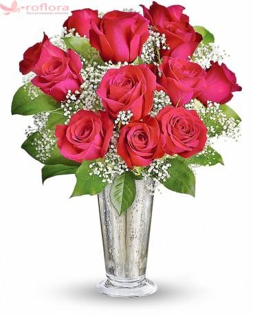 Sarutul trandafirilor Deluxe - Buchet din trandafiri rosii