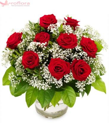 Sclipiri de Diamant – Buchet din 9 trandafiri rosii