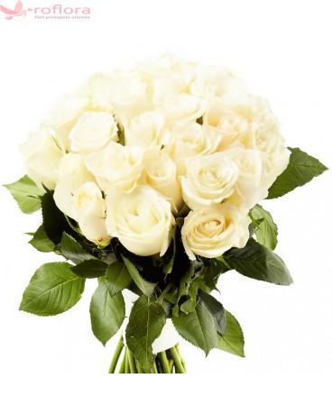 Serenity - Buchet de 25 trandafiri alb crem