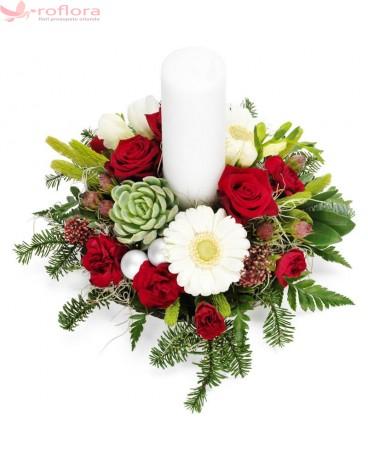 Silent Night – Aranjament in vas cu trandafiri, minirosa si gerbera