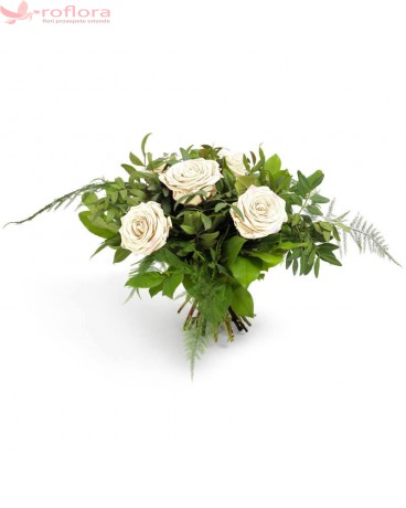 Soft – Buchet din 5 trandafiri albi