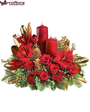 Stilat – Aranjament din trandafiri si amarylis
