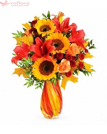 Sun Jewel - Buchet din floarea soarelui, trandafiri, crini si crizanteme