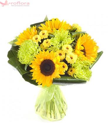 Yellow Surprise - Buchet din floarea-soarelui si crizanteme