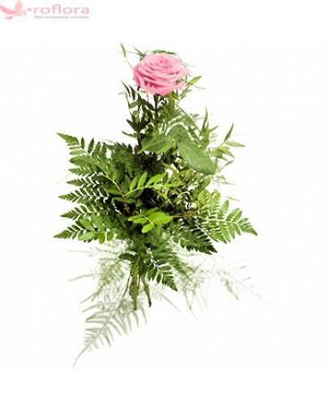 Trandafir roz cu verdeata