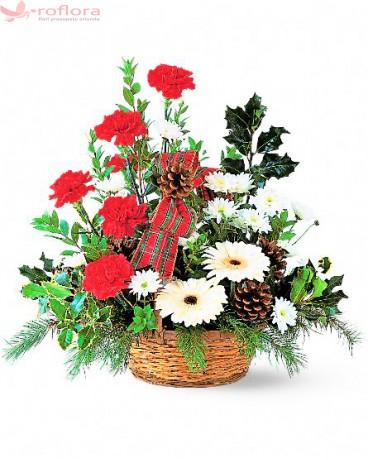 Taramul Minunilor - Cos cu gerbera, garoafe si crizanteme