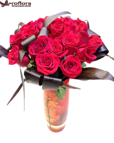 Buchet cu 25 trandafiri rosii
