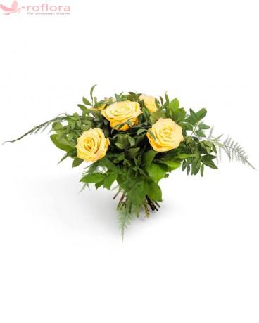 Tineri ca Dimineata – Buchet din 5 trandafiri galbeni