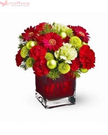 Traditii - Buchet din gerbera, crizanteme, garoafe si garofite