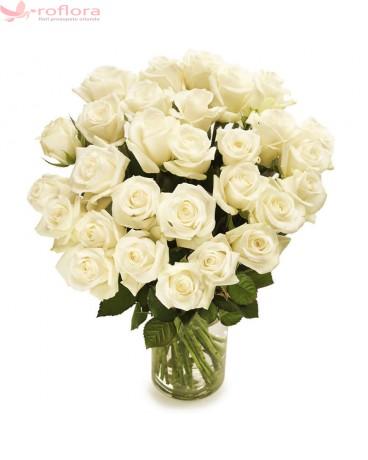 Trandafiri de Zahar – Buchet din 29 trandafiri albi