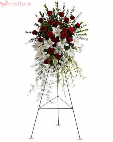 Tribute - Coroana din crini, orhidee si trandafiri