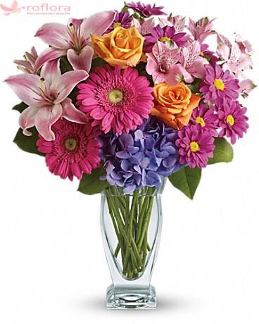 True Friend – Buchet din gerbera, trandafiri, alstroemeria, hortensie si crin