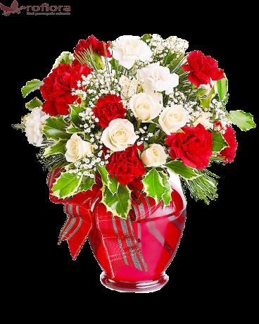 Veritabil– Buchet din trandafiri si garoafe