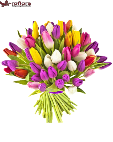 Buchet din lalele multicolore