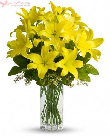 Yellow Sympathy - Buchet din crini galbeni