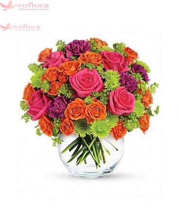 Buchet din trandafiri si crizanteme verzi