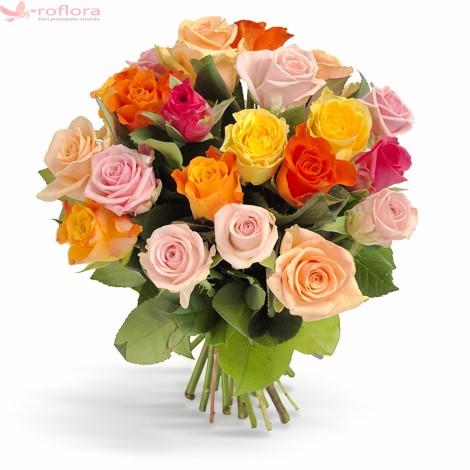 Buchet din 21 trandafiri multicolori