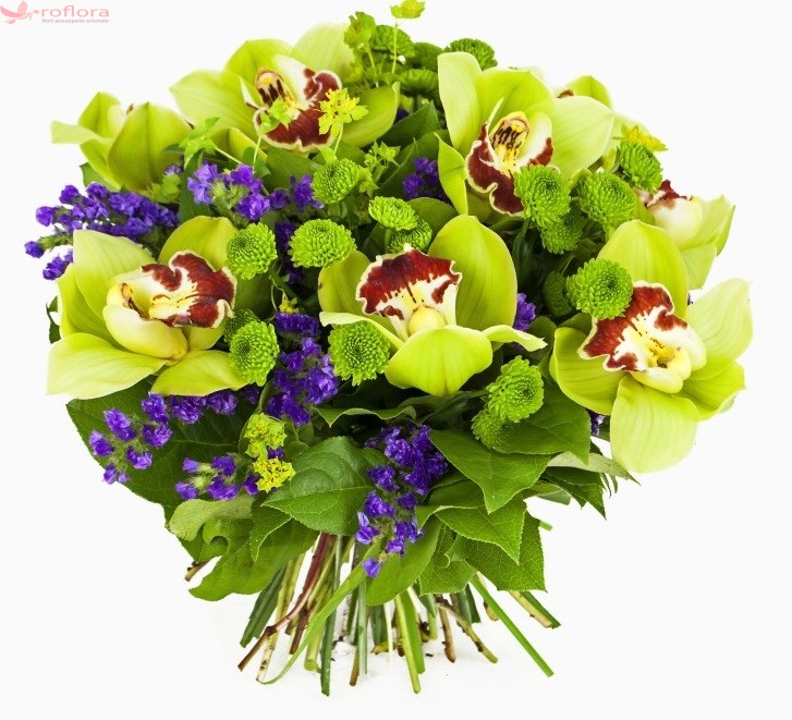 Buchet din orhidee si crizanteme