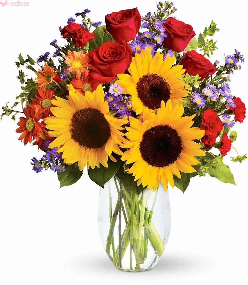 Buchet din floarea-soarelui, trandafiri si crizanteme