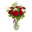 Pure ruby love - Buchet de trandafiri si eustoma