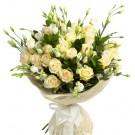 Sunday Rose - Buchet din trandafiri albi si eustoma