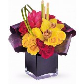 Artistic Gift - Aranjament din minirose si orhidee