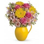 Charming - Buchet din trandafiri, gerbera si alstroemeria