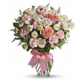 Cotton Candy - Buchet din trandafiri, garofite si crizanteme