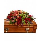 Departed - Aranjament din hortensii, trandafiri, crini, gerbera si gladiole