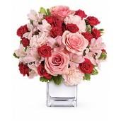 Dragostea in roz - Aranjament din trandafiri, minirosa, garoafe si alstroemeria