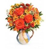 Golden Bouquet - Buchet din trandafiri, crizanteme si alstroemeria