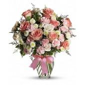 Great Love Deluxe- Buchet din trandafiri, crizanteme si garoafe