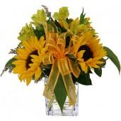 Happy - Buchet din floarea soarelui si alstroemeria