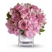 Incantator - Aranjament cu hortensia, trandafiri si alstroemeria