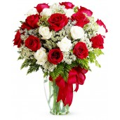 Iubire si devotament – Buchet din 19 trandafiri rosii si albi