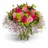 Jocul iubirii – Buchet cu trandafiri roz si rosii