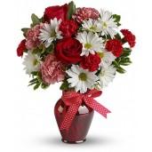 Joy - Buchet din trandafiri si garoafe