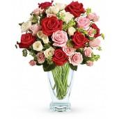 Sageata lui Cupidon– Buchet din trandafiri rosii, roz si albi