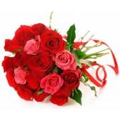 My Love - Buchet din 17 trandafiri rosii si roz