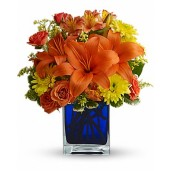 Nopti de Vara – Aranjament din crini, trandafiri, alstroemeria si crizanteme